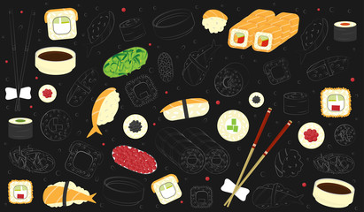 vector background of set of different sushi and rolls