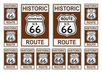 Route 66 Verkehrszeichen aus USA / Amerika mit allen betroffenen Staaten in historic Design auf einem isolierten weißen Hintergrund