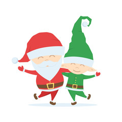 Cartoon friends. Santa Claus with Christmas Elf on white backround