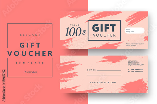 Abstract gift voucher card template. Modern discount coupon or ...