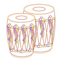 pair musical instrument punjabi drum dhol indian traditional vector illustration line color design