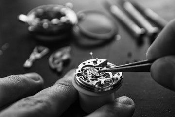 The process of repair of mechanical watches Wall mural