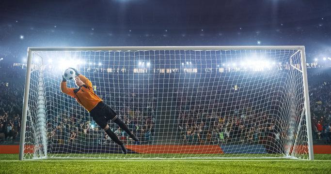 Soccer goalkeeper in action on the stadium