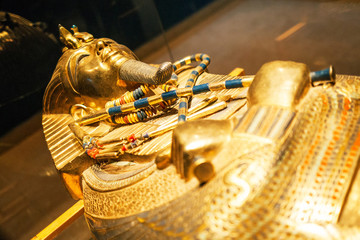 Original gold mask of the pharaoh in museum
