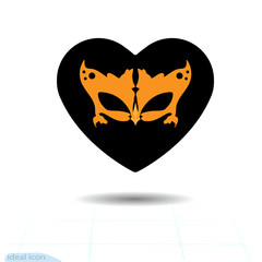 Heart vector black icon, Love symbol. Orange carnival mask in heart. Valentines day sign, emblem, Flat style for graphic and web design, logo. Vector icon.