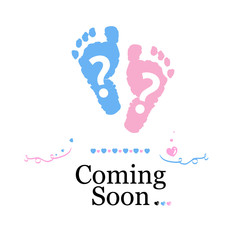 Coming soon baby. Baby gender reveal symbol. Girl, boy, twin baby symbol
