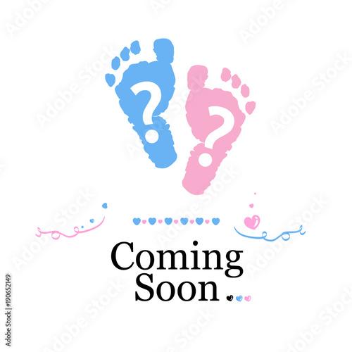 Coming Soon Baby Baby Gender Reveal Symbol Girl Boy Twin Baby