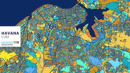 Havana,Cuba, Colorful Vector Artmap