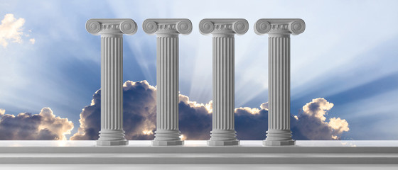 Education and democracy concept. Four marble pillars and steps on blue sky background. 3d illustration