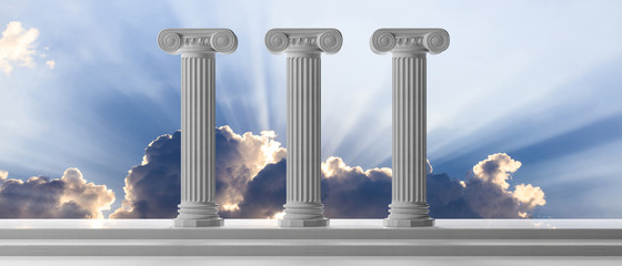 Sustainability concept. Three marble pillars and steps on blue sky background. 3d illustration