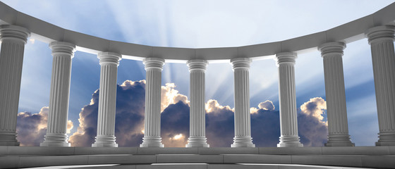 Spoed Fotobehang Bedehuis Marble pillars and steps on blue sky with clouds background. 3d illustration
