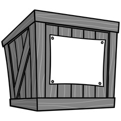 Crate Cartoon Illustration - A vector cartoon illustration of a warehouse Crate.
