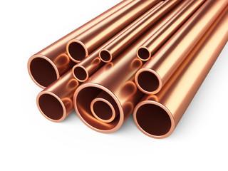 Copper pipes profile stack.
