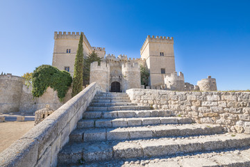 ancient stones stairs to landmark and monument of fifteenth century, castle in Ampudia village, Palencia, Castile Leon, Spain, Europe