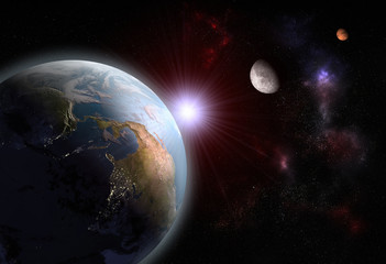 3D render of the alignment of The Earth, The Moon and Mars