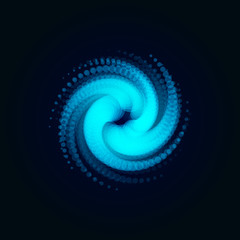 Hurricane, swirl, abstract spiral shape of circles , blue vector illustration on black background.