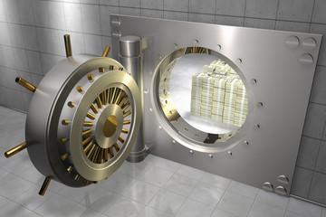 3D render of a bank vault with stack of 100 dollar bills inside