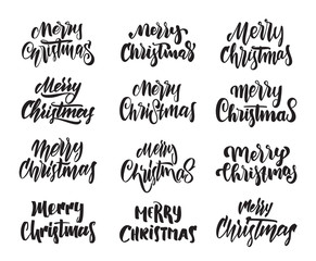 Big Set of Hand drawn modern type lettering of Merry Christmas. Typography design