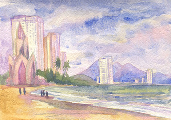 Vietnam. Watercolor painting. Marine landscape with views of the city
