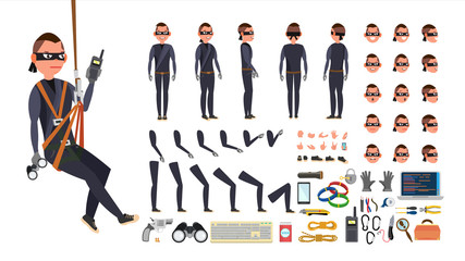Thief, Hacker Vector. Animated Character Creation Set. Black Mask. Tools And Equipment. Full Length, Front, Side, Back View, Accessories, Poses, Face Emotions, Gestures. Isolated Flat Illustration