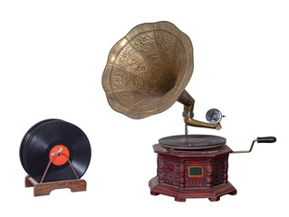 Nineteenth century phonograph (gramophone) and vinyl records isolated on white including clipping path