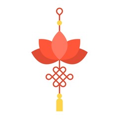 Lotus Chinese knot, decorate for Chinese new year, meaning luck, flat design icon
