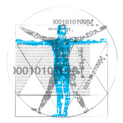 Vitruvian man of computer age.  A grunge stylized drawing of vitruvian man with a binary codes symbolized digital age. Isolated on white background. Vector available.