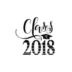 vector illustration of a graduating class in 2018. Graphics elements for t-shirts, and the idea for the badge or sign