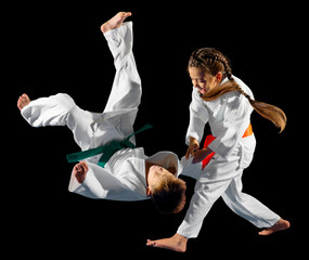 Deurstickers Vechtsport Children martial arts fighters