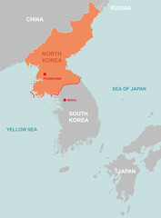 North korea and surrounding countries map