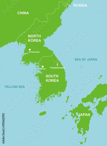 Pyeongchang South Korea And Surrounding Countries Map Stock Image