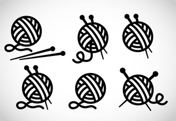 Knitting icon set vector
