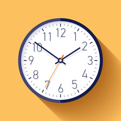 Clock icon in flat style with numbers, timer on color background. Business watch. Vector design element for you project