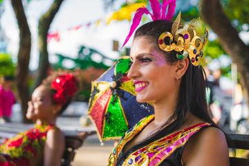 Carnival Brazil 2018. Dancers wearing carnival costumes and dancing in Olinda, Pernambuco, Brazil.
