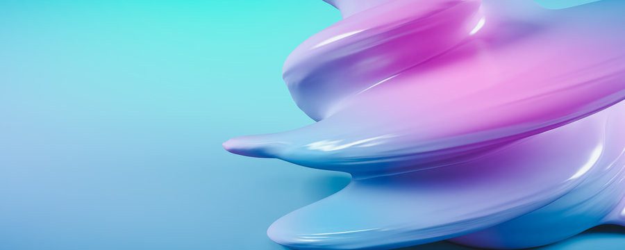 Blue abstract twisted shape. 3D Illustration