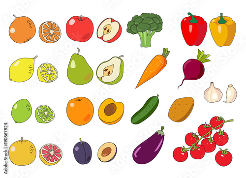 fruits and vegetables collection cute colorful vector illustration