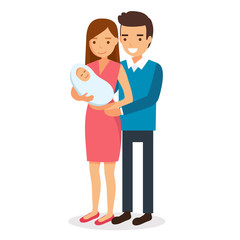 Happy parents, family with a new born baby - vector illustration in flat style. Woman holding a baby