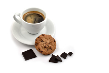 Chocolate cookie with coffee stock images. Cup of coffee on a white background. White cup of coffee with snack. Cup of coffee with cookie. Espresso with sweetness