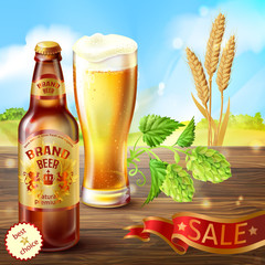 Vector realistic colorful background, promotion banner with brown bottle of craft beer and full glass of frothy alcoholic drink on wooden table with hops and barley. Mockup for your brand design