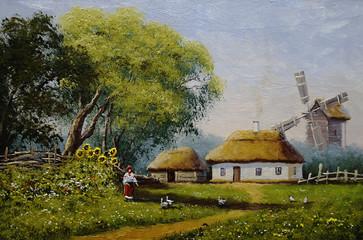 Oil paintings landscape, village, fine art