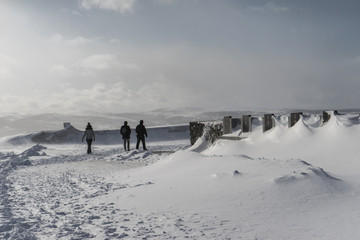 people walk along the snow-covered field on the background of the mountain