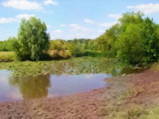 Oil paintings landscape, river, fine art