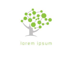 Brain green tree logo