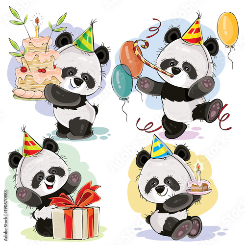 Set Cute Baby Panda Bears In Cardboard Hat With Birthday Cake And Candle