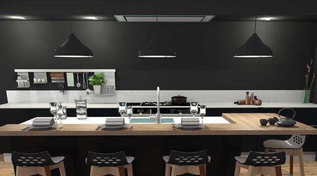 Cuisine moderne bois et noir