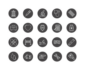 Thin lines icon set, medicine and health symbols, vector collection