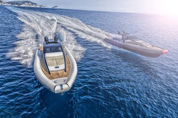 two Motor boat in navigation