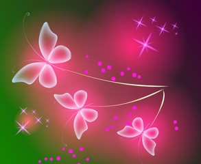 Glowing background with magic  butterflies and sparkling stars.Transparent butterfly and glowing stars. Glowing image on dark green background.