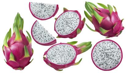 Dragon fruit or pitaya pieces set isolated on white