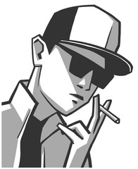 Isolated illustration of young guy wearing glasses and baseball hat smoking in black and white